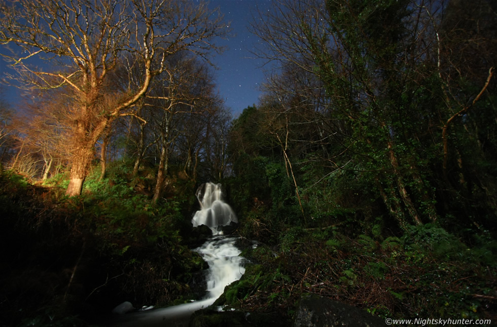 Downhill Moonlit Waterfall