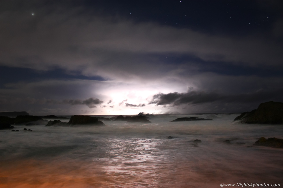Ballintoy Harbour Night Lightning