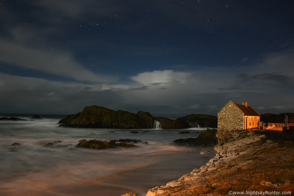 Ballintoy Harbour Moonlit Lightning