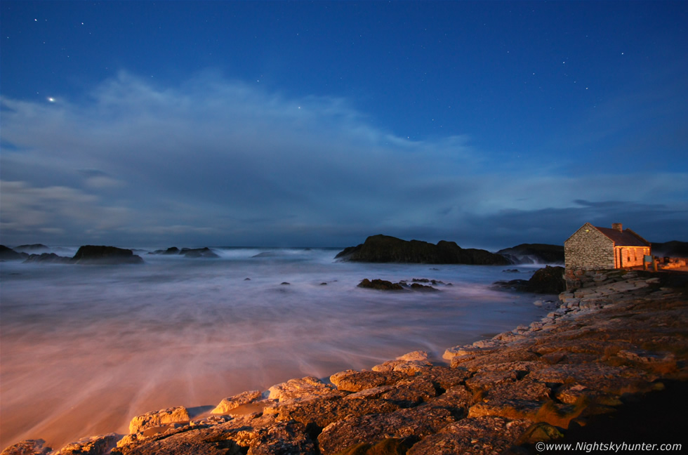 Ballintoy Harbour In Pre-Dawn Moonlight