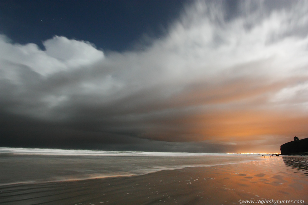 Downhill Beach Moonlit Storm